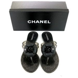 CHANEL 10C Black Sparkle Jelly Camellia Sandals 38